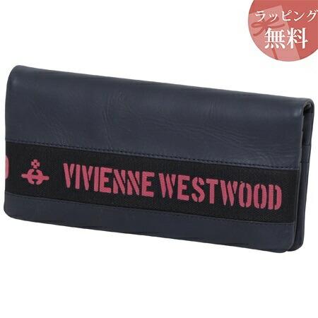 ヴィヴィアンウエストウッド 財布 長財布 メンズ ロゴベルト ネイビー Vivienne Westwood