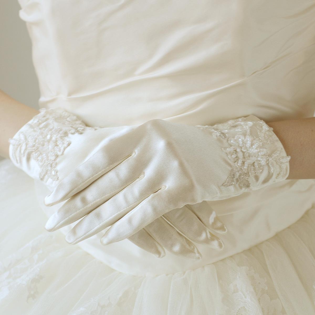 【年末SALE20%OFF】ショートグローブ ウェディング グローブ 2色 オフホワイト/アイボリー レーススパンサテン(ウエディング ウェディンググローブ ブライダル 結婚式)[G83]【送料無料】