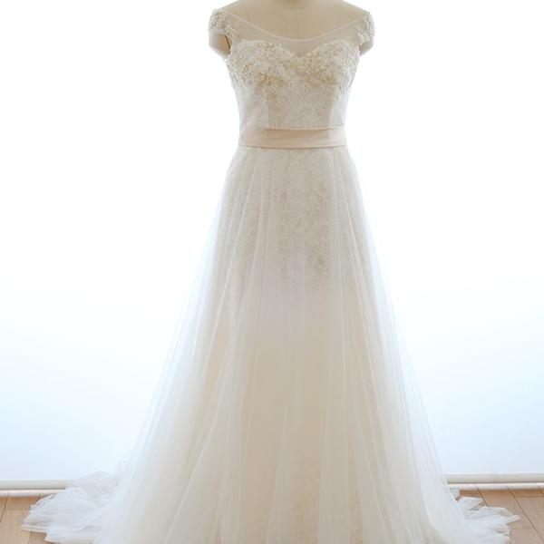 【スーパーSALE15%OFF】チュールの透明感が魅力のオフショルダーでフレアスカートのウエディングドレス[S161]【送料無料】