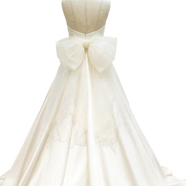 【スーパーSALE15%OFF】リボン ベルト チュール アイボリー ウエディングドレス(ウエディング 結婚式 ブライダル 二次会 パーティー ウェディングドレス小物)[Y076]【送料無料】