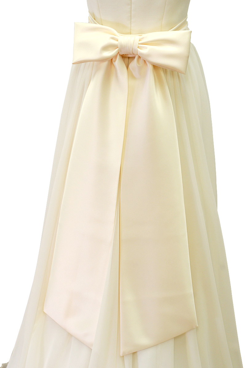 【スーパーSALE15%OFF】リボンベルト サテン アイボリー ウエディングドレス (ウエディング ウェディングドレス 結婚式 ブライダル ウェディングドレス小物)アレンジ[Y236]【送料無料】