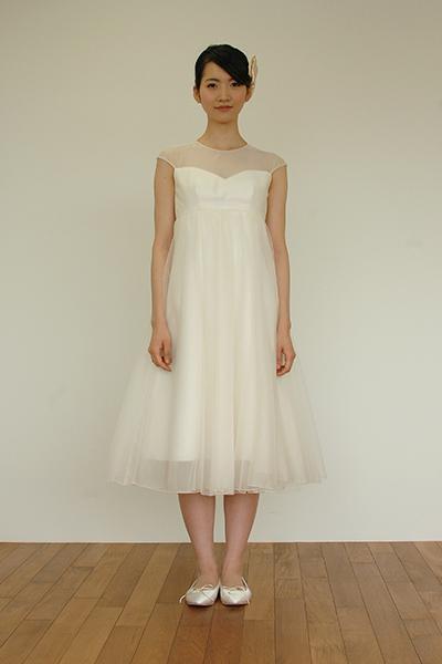 【ポイント2倍】9号オーガンジーのシンプルなエンパイア切り替えミモレ丈ドレス[Z038]【送料無料】