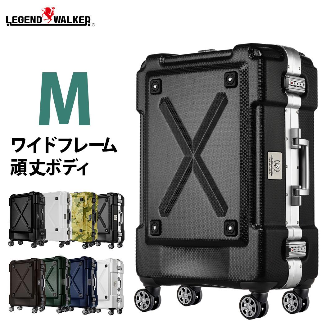 スーツケース M サイズ PC100% キャリーケース キャリーバッグ キャリーバック 旅行用かばん 中型 新作 5日 6日 7日 無料受託手荷物 158cm 以内 アウトドア LEGEND WALKER レジェンドウォーカー 『6302-62』