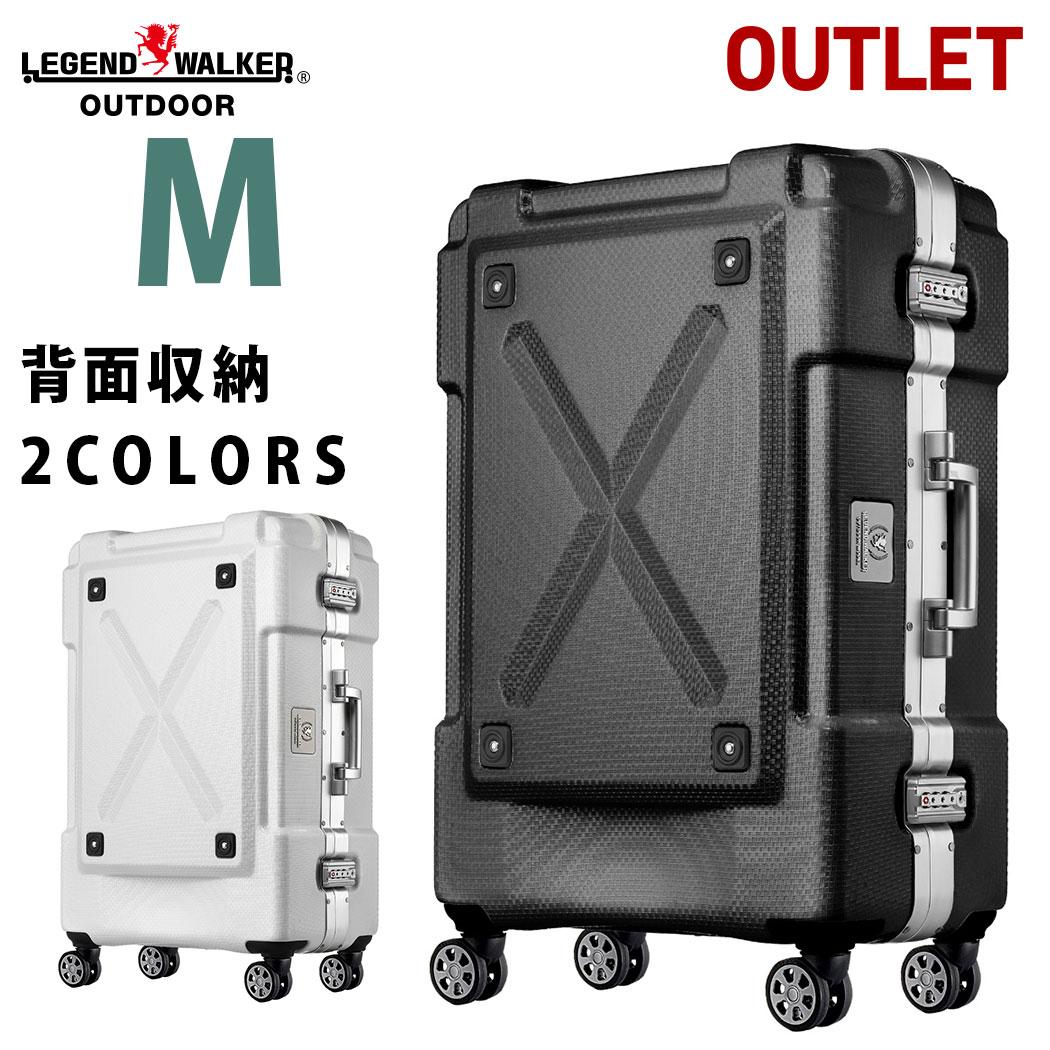 アウトレット スーツケース M サイズ 超軽量 PC100%素材 フレーム キャリーケース キャリーバッグ キャリーバック 旅行用かばん 中型 5日 6日 7日 無料受託手荷物 158cm 以内 アウトドア シボ加工 LEGEND WALKER レジェンドウォーカー 『B-6303-62』