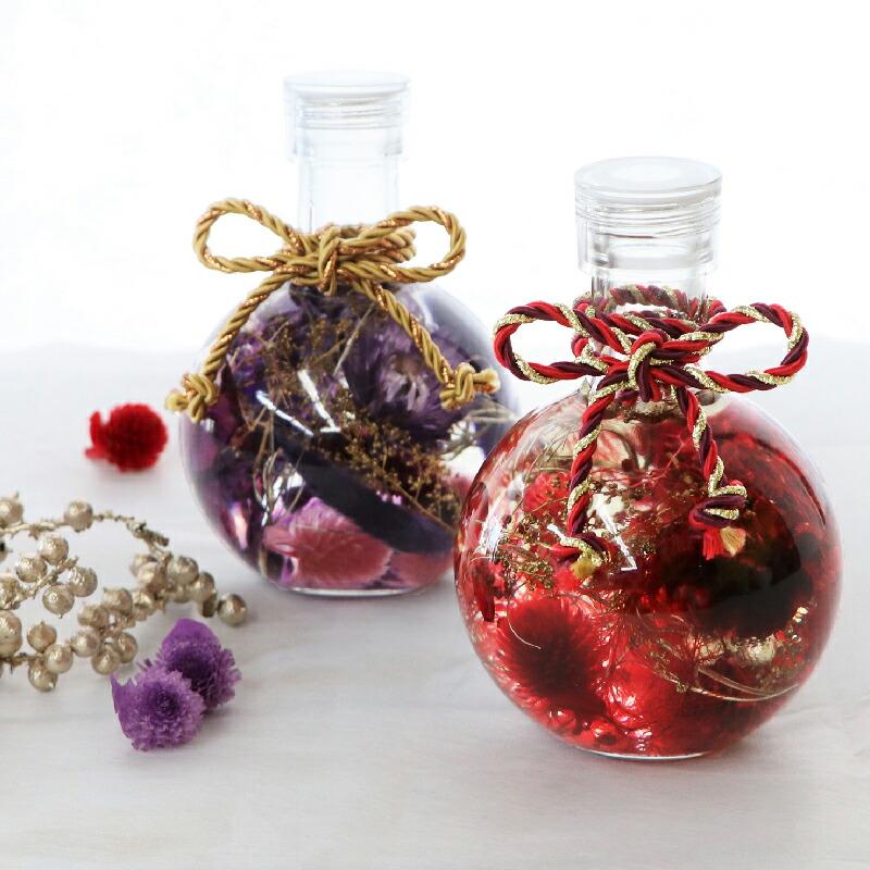 赤と紫のハーバリウムギフト ボトル 蝶々結び 楽天