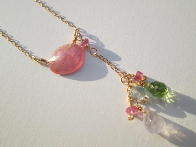 14kgfネックレス 1点物 京都marimariオリジナル 14kgf宝石質ピンクサファイヤネックレス ハンドメイド送料無料!キラキラローズカット!綺麗なピンク色が心を奪われます。