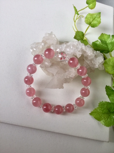 春色 ブレスレット 1点もの現品のみ!天然石ブレスレット 送料無料 ディープローズクォーツ 水晶 桜水晶
