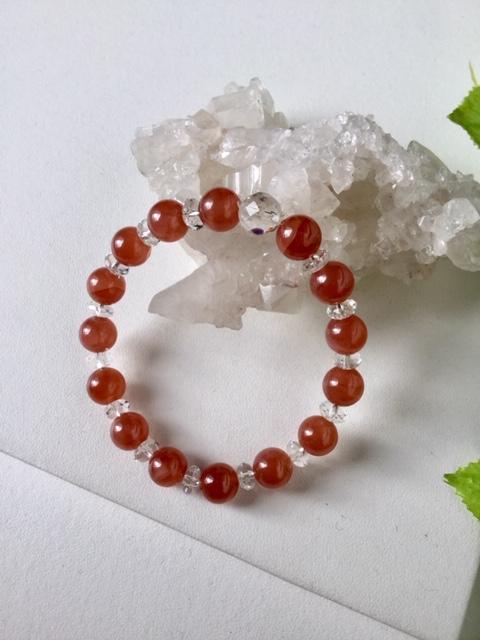 春色 ブレスレット 1点もの現品のみ!天然石ブレスレット 送料無料 インカローズ(ペルー産) 水晶