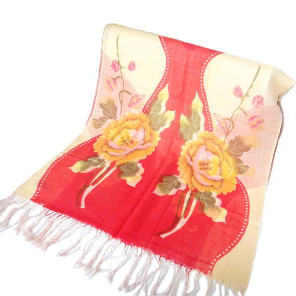 100%パシュミナストール 赤サーモンベージュマフラー風 防寒具 羽織り ひざ掛け クリスマスプレゼント芍薬モチーフドットがかわいい◆
