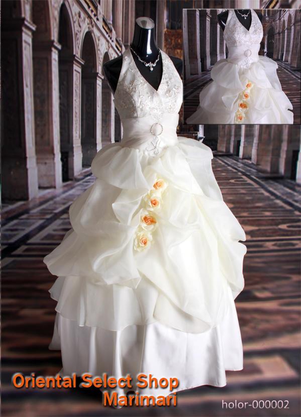 ウェディングドレス 結婚式 ブライダル 二次会パーティー 披露宴 挙式 花嫁ホルターネックふわふわ薔薇ウェディングドレスプリンセスラインパニエ付き