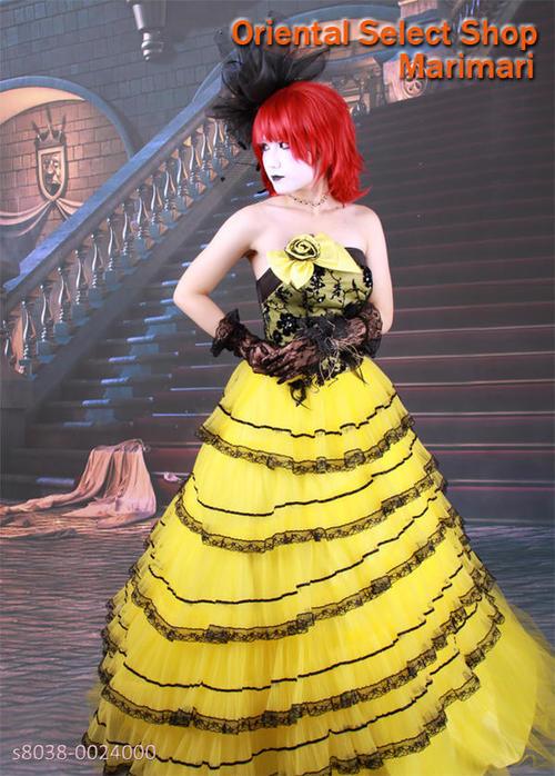 カラードレス 結婚式 ブライダル 二次会パーティー 披露宴 挙式 花嫁アシンメトリーティアードイエロー×ブラックプリンセスラインパニエ付き