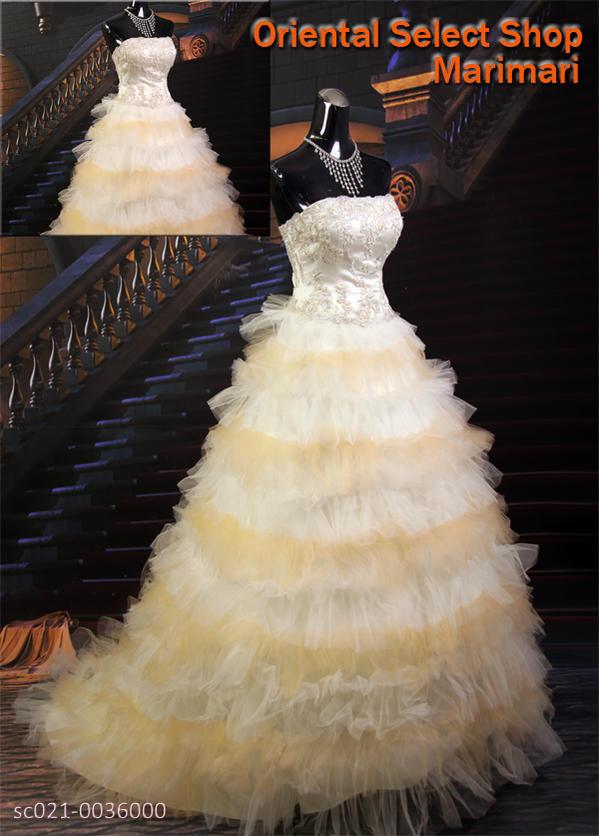 ウェディングドレス 結婚式 ブライダル 二次会パーティー 披露宴 挙式 花嫁キャリードレスオレンジシャーベット ティアード ショートトレーンプリンセスラインパニエ付き