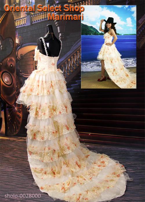 ウェディングドレス 結婚式 ブライダル 二次会パーティー 披露宴 挙式 花嫁フロントショートバックロングトレーンウェディングドレスダブルファスナーで大きめサイズにも対応