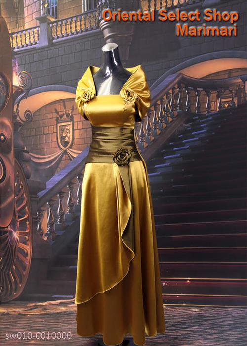 リサイタル用 ドレス演奏家 声楽家 ピアニストドレス演奏会にカラードレス琥珀色薔薇コサージュショールデザイン