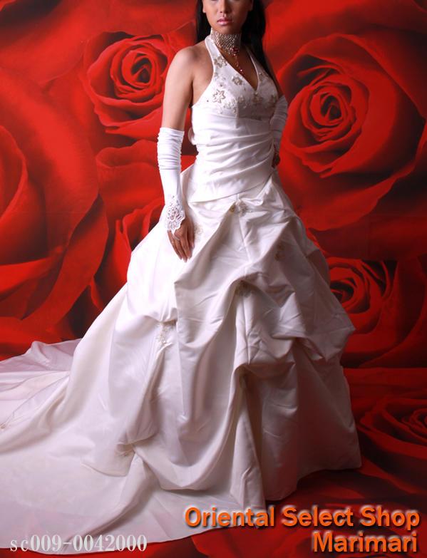 ウェディングドレス 結婚式 ブライダル 二次会パーティー 披露宴 挙式 花嫁ホルターネックをアダルトにロングトレーンウェディングドレスプリンセスラインパニエ付き