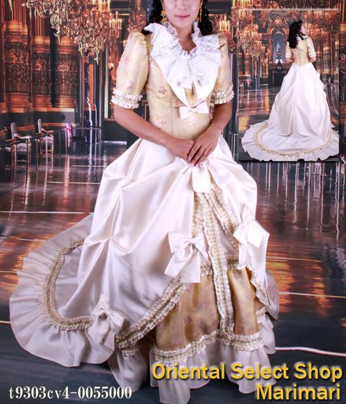 ウェディングドレス 結婚式 ブライダル 二次会パーティー 披露宴 挙式 花嫁ヨーロッパのお姫様ドレスコスチュームドレス優雅なフリルのトレーンパニエ付き