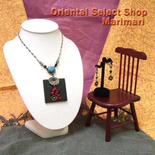 ネックレス&ピアスセットエスニック風 オニキス&トルコ石紅い珊瑚ゆらゆらハートのチェーン