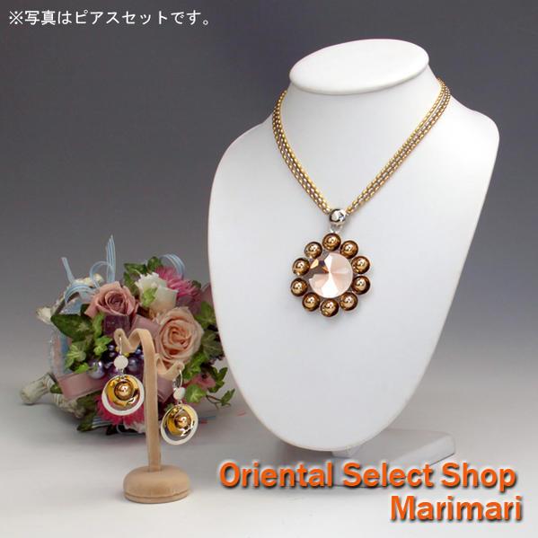 個性的な花嫁に3連ネックレス&ピアスセットイヤリングセットもありミラーストーンモチーフ艶ゴールドサンフラワー