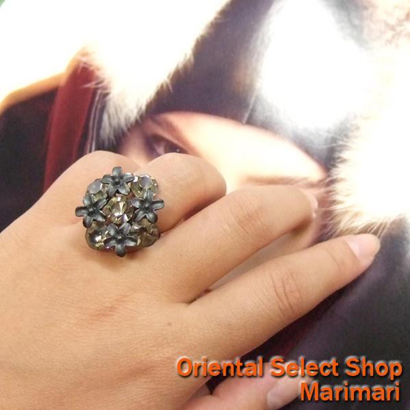 222527f6d ... Costume rings bouquet Crystal Swarovski metal black / clear black free  SIZE