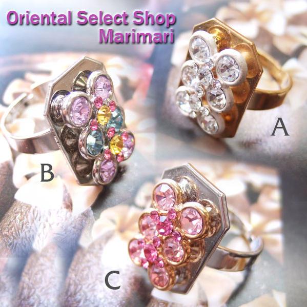 長方形の指輪は意外と珍しいです 麻雀リング個性的な指輪デザインリング水晶スワロパステル ピンク クリスタルフリーサイズ 売却 卸直営