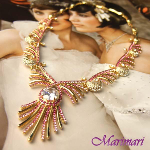 ◆不死鳥ネックレス!!1cm超特大スワロが輝くゴールドベース×マゼンダピンクおそろいになるピアスがあるネックレス