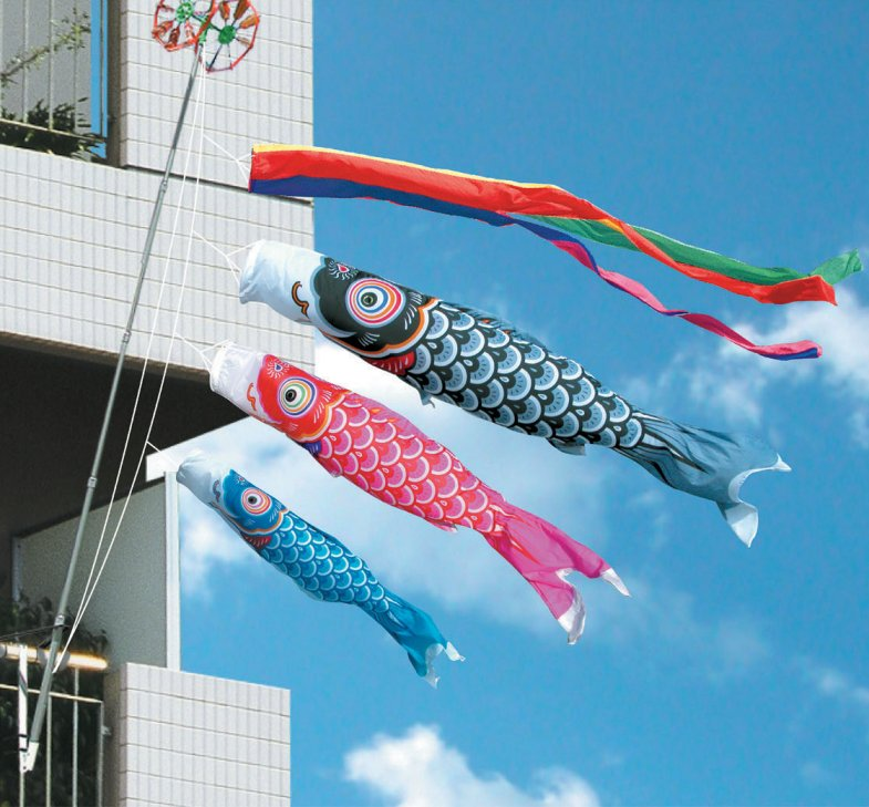 徳永鯉のぼり友禅鯉ベランダ用ファミリーセット1m