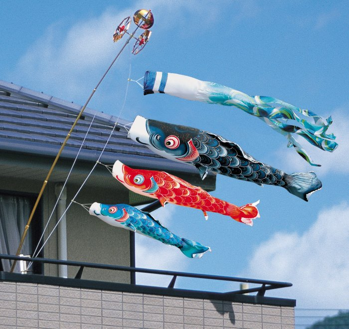 ☆送料無料☆徳永鯉のぼり薫風の舞い鯉 風舞いベランダ用ロイヤルセット1.5m