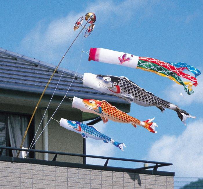 ☆送料無料☆徳永鯉のぼり慶祝の鯉 吉兆ベランダ用ロイヤルセット1.2m豪華桐箱入り純正器具