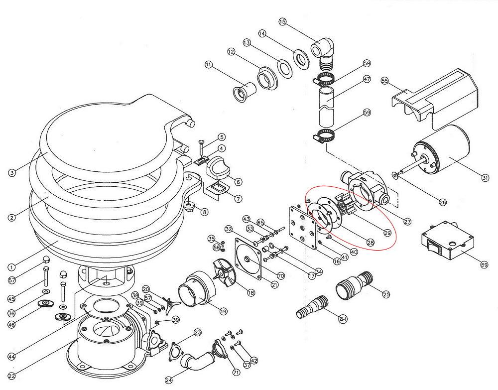 pump impeller — kit (for tmc electric marine toilet)