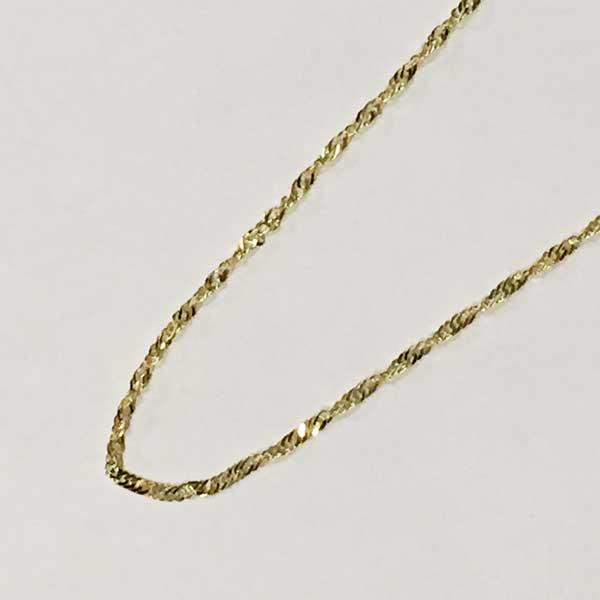 """夏威夷人珠宝14K黄色黄金链子45cm新加坡""""弯扭类型""""/夏威夷人安盛萨莉"""