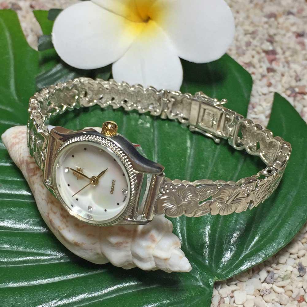 ポイント最大28倍!4/16(火)01:59まで ハワイアンジュエリー シルバーブレスウォッチ ハイビスカス フック アクセサリー Hawaiian jewelry ハワジュ 腕時計