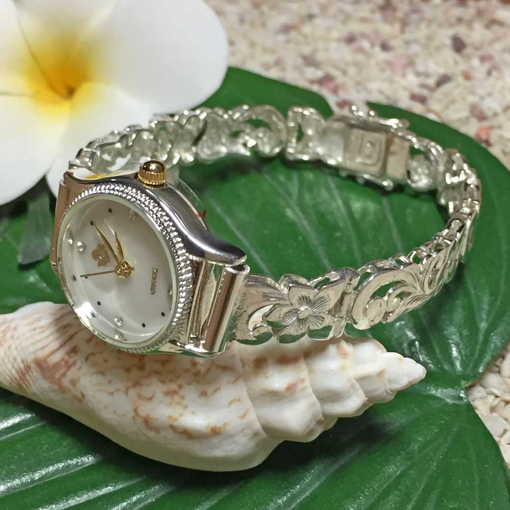 ハワイアンジュエリー シルバーブレスウォッチ プルメリア フック アクセサリー Hawaiian jewelry ハワジュ 腕時計