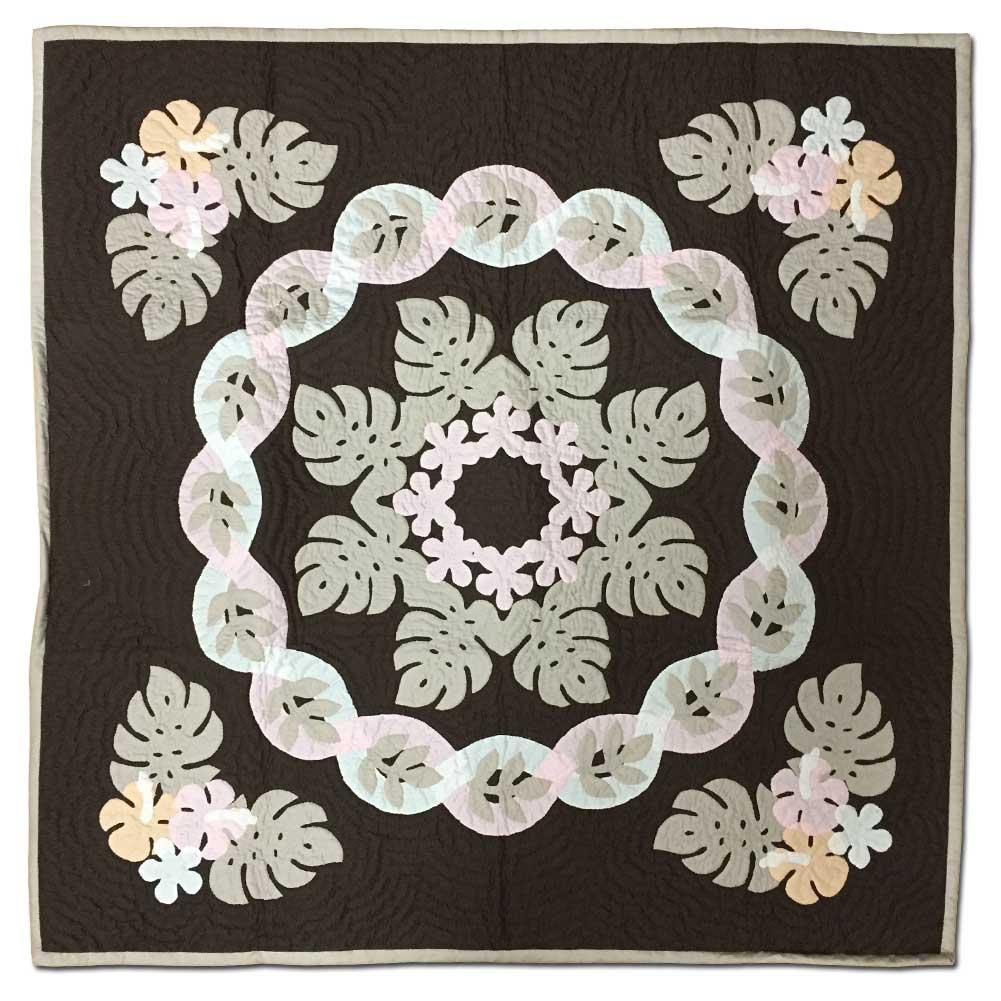 Hawaiian quilt ハワイアンキルトタペストリー モンステラ柄 107×107cm/インテリア 壁掛け マット【小型宅配便】【コンビニ受取対応商品】