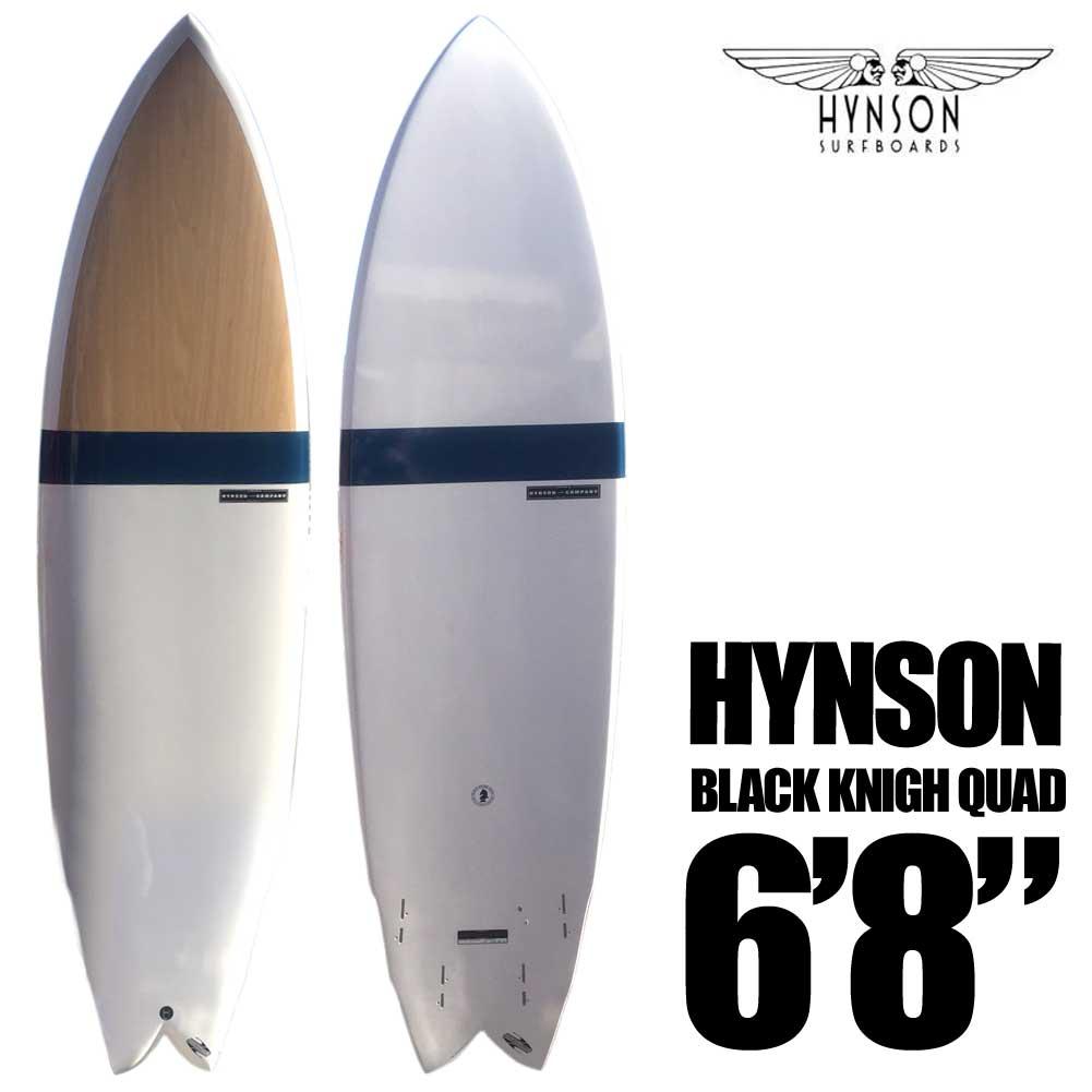 ポイント最大28倍!4/16(火)01:59まで HYNSON SURFBOARDS BLACK KNIGHT QUAD 6'8 ブラックナイト クアッド SURF BOARDS ダブルウイングスワロー FCS2 クアッドフィン付き ショートボード