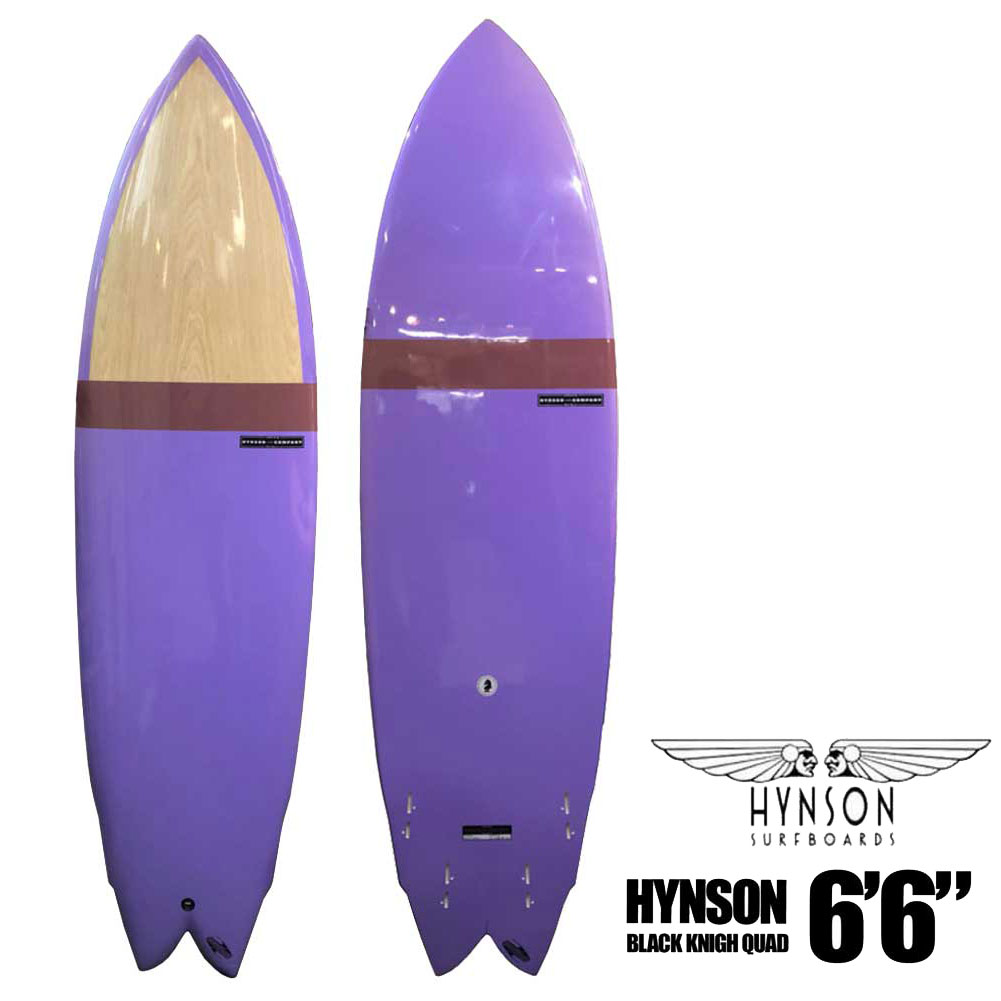 Short board with the HYNSON SURFBOARDS BLACK KNIGHT QUAD 6' 6  ヒンソンブラックナイトクアッド 4 fin double wing swallow FCS2 quad fin