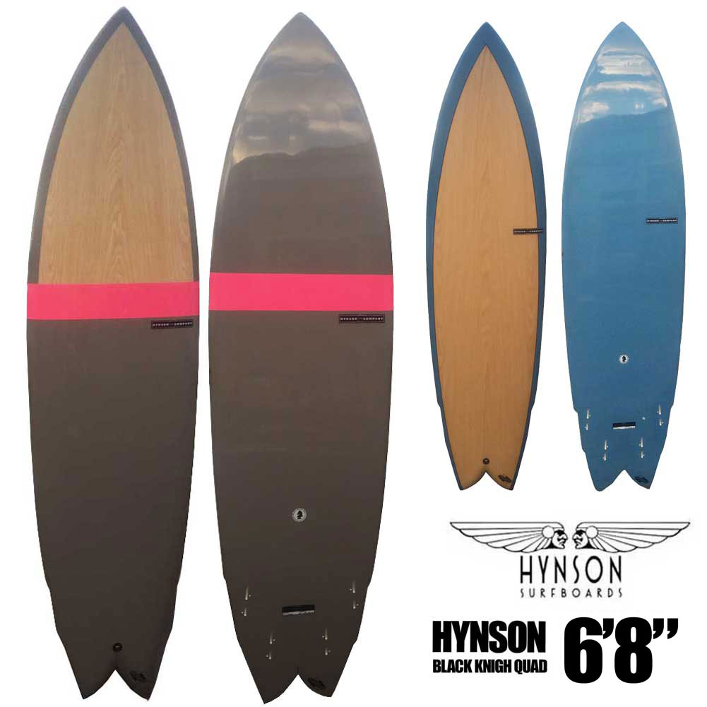 ポイント最大28倍!4/16(火)01:59まで HYNSON SURFBOARDS BLACK KNIGHT QUAD 6'8 ヒンソン ブラックナイト クアッド 4フィン ダブルウイングスワロー FCS2 クアッドフィン付き ショートボード