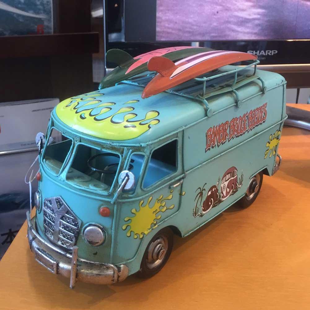 【平日13時までのご注文は当日発送】 ブリキのおもちゃ ビンテージカー サーフバスブルー 6873 Vintage Car Printing Bus 雑貨 置物 サーフィン