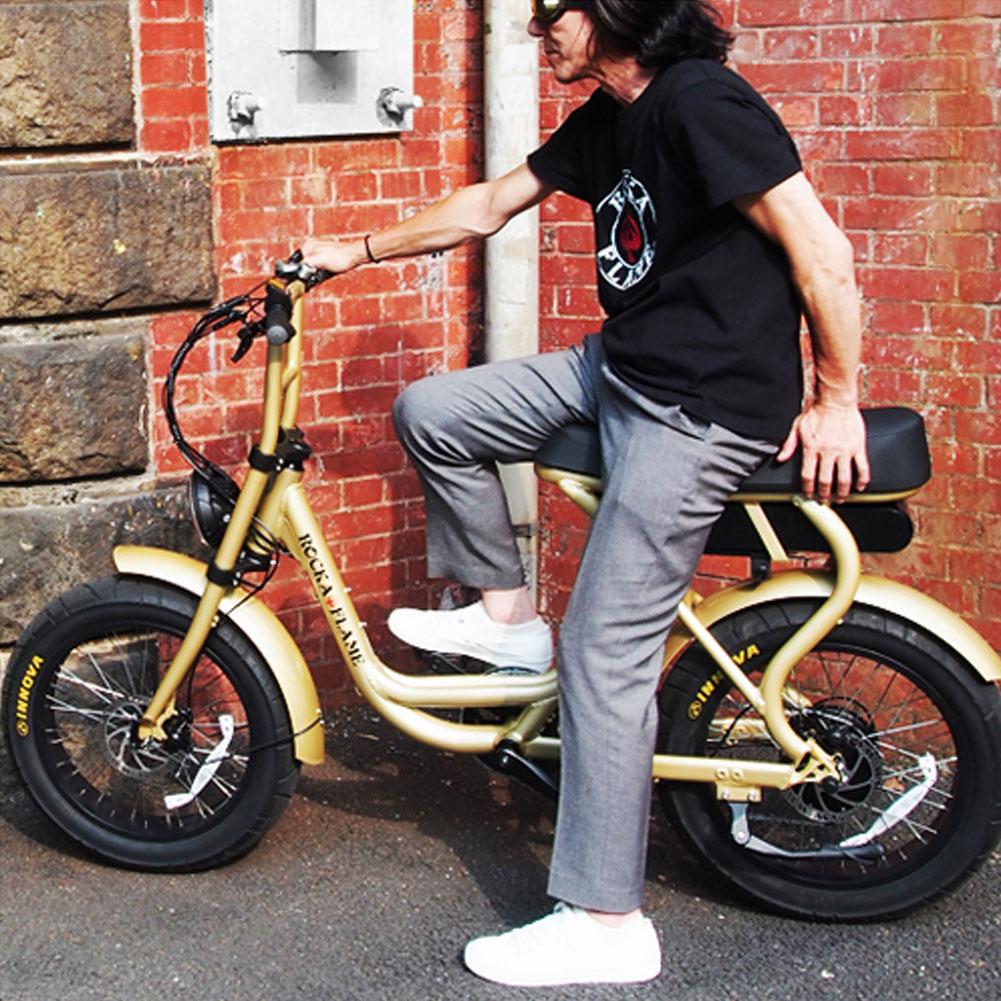 【土日祝も毎日発送】 電動アシスト付き自転車 ロカフレーム フーマ シャンパンゴールド ROCKA FLAME FUMA e-Bike サーフィン オシャレ バイク ビーチクルーザー イーバイク メンズ 記念日 誕生日 クリスマス ギフト プレゼント