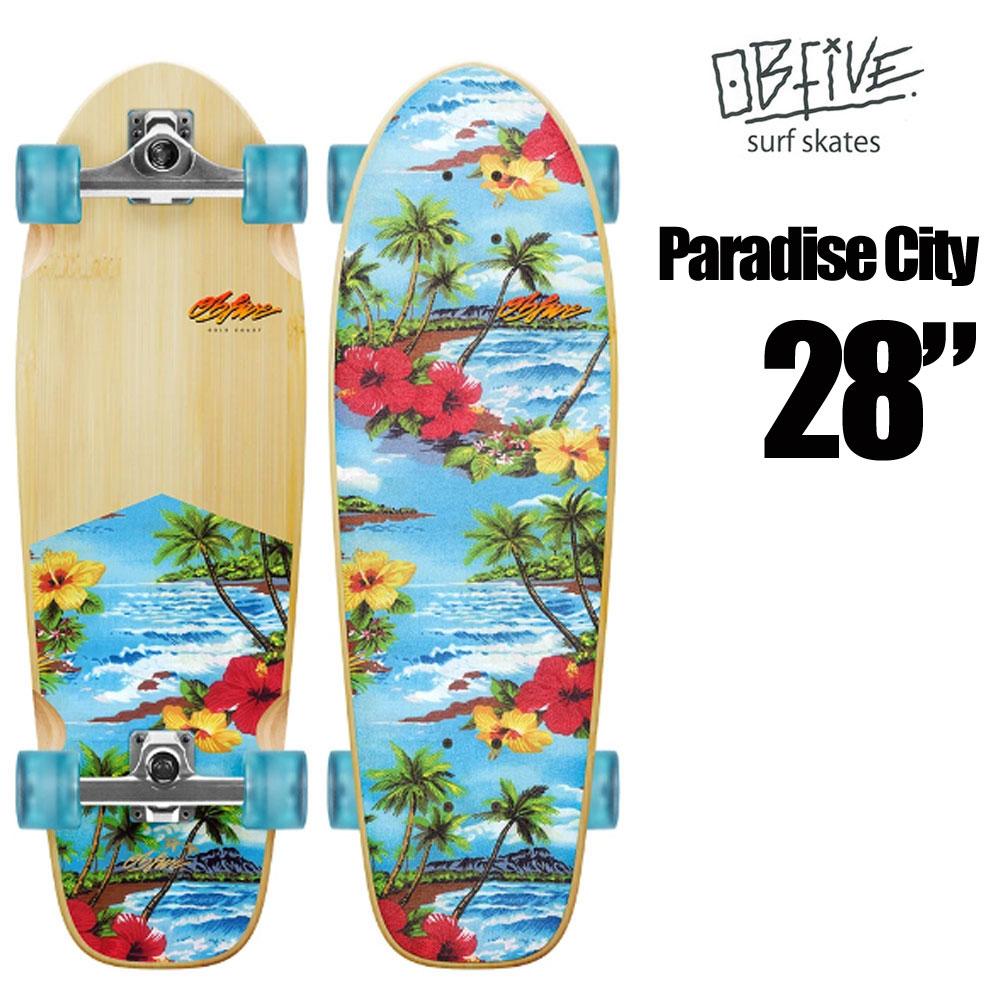 スケートボード コンプリート オービー ファイブ サーフスケート パラダイスシティグロム OB Five Paradise City Grom RKP1 Surf Skate 28インチ SURF TRUCK サーフィン SK8 オシャレ かわいい 人気 ソフトウィール サーフクルーザー サーフィン