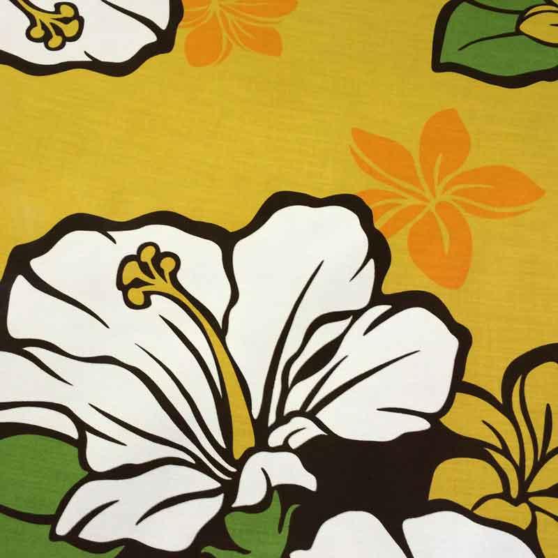 夏威夷布黄色棕色芙蓉和鸡蛋炮仗花裙子面料呼啦圈 fs04gm
