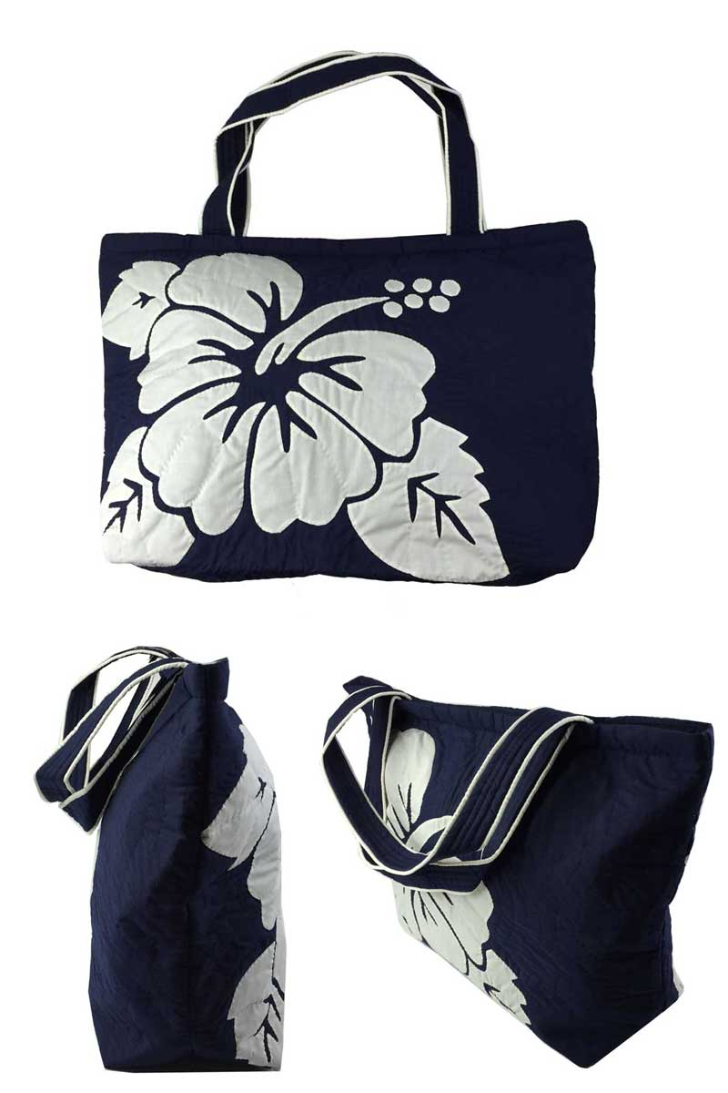 Hawaiianquilt Hawaiian Quilt Bags Hibiscus Pattern Square Tot Bag Large Navy Las Back Gadgets Fs04gm