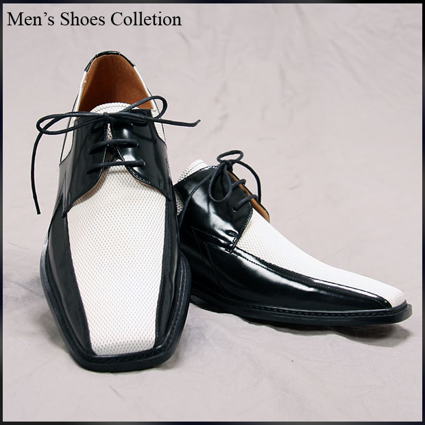 ★ ★ men's shoes white & black shoes 24.0cm-28.5cm 3E heel 3 cm straight tip shoe Combi black and white combination 7, 756