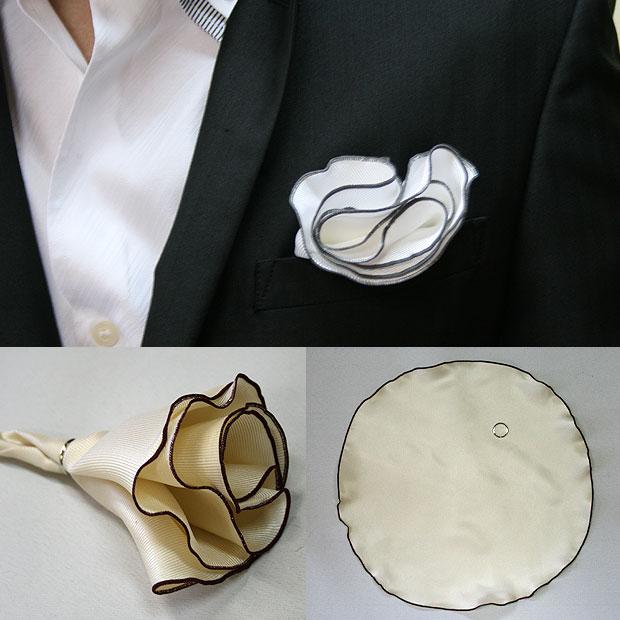 メンズフリルポケットチーフ【オシャレ】パーティー結婚式のスーツにオススメ!