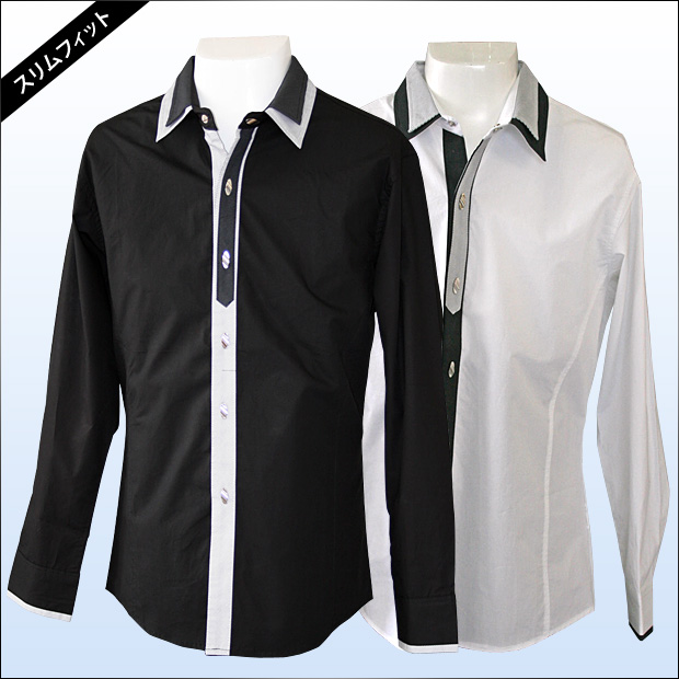 marino | Rakuten Global Market dress shirt black and white for ...