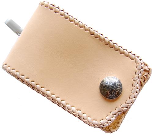 ハンドメイド サドルレザー携帯・スマートフォンホルダーフチ編込(小) オーダーメイド承ります