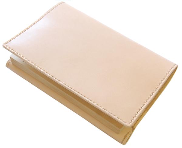 ハンドメイド 革製ブックカバー(四六判)国産牛ヌメ革・日本製 革製しおり付 ネーム刻印無料