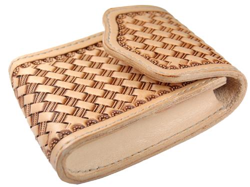 ハンドメイド 革製タバコケース(レザーカービング・バスケット) 国産サドルレザー 日本製 ネーム刻印無料 オーダーメイド承ります