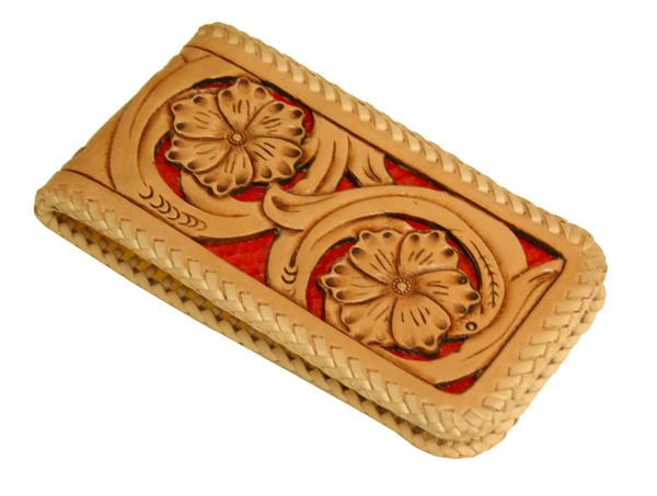 ハンドメイド サドルレザーカービングiphone6sケース(透かし彫り)