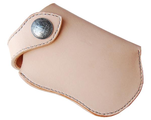 ハンドメイド 革製iphoneホルダー(ナチュラル) 国産サドルレザー 日本製 ネーム刻印無料 オーダーメイド承ります