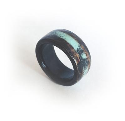 黒檀とターコイズの指輪 木製指輪 エボニー ウッドリング 8号から27号まで制作可能です 送料無料